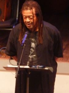 Quincy Troupe reads on opening night of Vision Fest 19 | Joyce Jones photo.