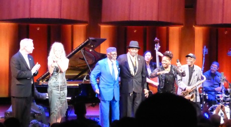 Left-Right: Gary Burton, Wendy Oxenhorn, Pharoah Sanders, Archie Shepp, Linda Oh, Catherine Russell, Jimmy Heath, Karriem Riggins